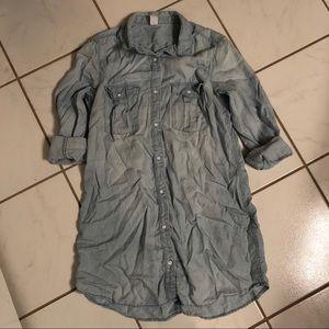 H&M Light Wash Denim Button Down Tunic